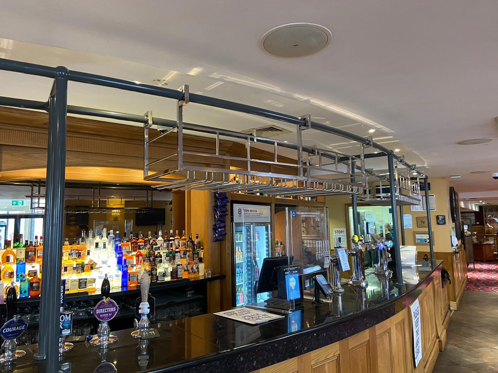 Polished stainless steel glass racks